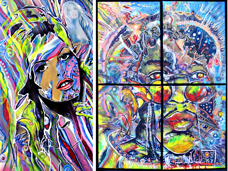 Jimi Hendrix, Brigitte Bardot, popart, pop-art, pop-art-painting, music, actor, art, artwork, art-work, erotic art, rob, sky, robsky, christine dumbsky, robert heizenröther, an artist collaboration