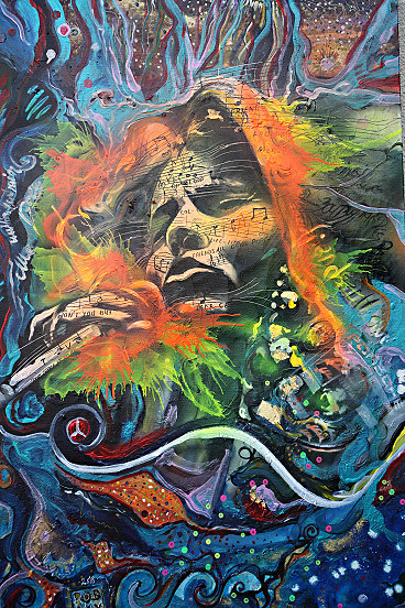 Janis Joplin inspired this artwork with her songs bobby mcgee and mercedes benz it's a painted song - robsky is a true child of massurrealism